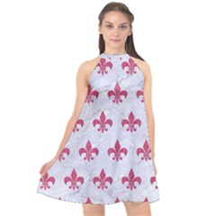 ROYAL1 WHITE MARBLE & PINK DENIM Halter Neckline Chiffon Dress