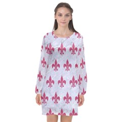 ROYAL1 WHITE MARBLE & PINK DENIM Long Sleeve Chiffon Shift Dress