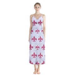 ROYAL1 WHITE MARBLE & PINK DENIM Button Up Chiffon Maxi Dress