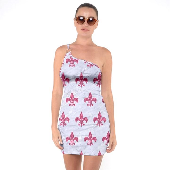 ROYAL1 WHITE MARBLE & PINK DENIM One Soulder Bodycon Dress
