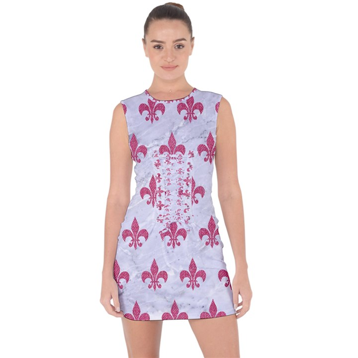 ROYAL1 WHITE MARBLE & PINK DENIM Lace Up Front Bodycon Dress