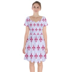 ROYAL1 WHITE MARBLE & PINK DENIM Short Sleeve Bardot Dress