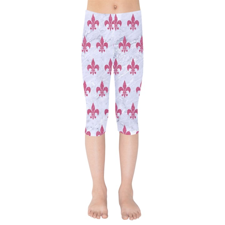 ROYAL1 WHITE MARBLE & PINK DENIM Kids  Capri Leggings