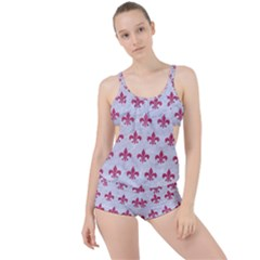 ROYAL1 WHITE MARBLE & PINK DENIM Boyleg Tankini Set