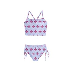 ROYAL1 WHITE MARBLE & PINK DENIM Girls  Tankini Swimsuit