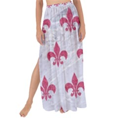 ROYAL1 WHITE MARBLE & PINK DENIM Maxi Chiffon Tie-Up Sarong