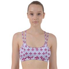 ROYAL1 WHITE MARBLE & PINK DENIM Line Them Up Sports Bra