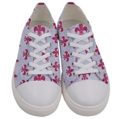 Royal1 White Marble & Pink Denim Women s Low Top Canvas Sneakers