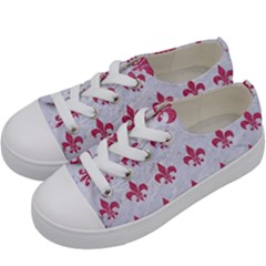 ROYAL1 WHITE MARBLE & PINK DENIM Kids  Low Top Canvas Sneakers