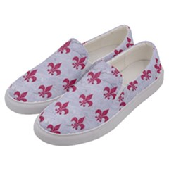 ROYAL1 WHITE MARBLE & PINK DENIM Men s Canvas Slip Ons