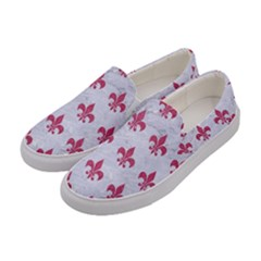 ROYAL1 WHITE MARBLE & PINK DENIM Women s Canvas Slip Ons