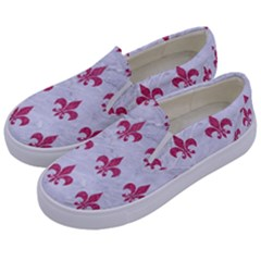 ROYAL1 WHITE MARBLE & PINK DENIM Kids  Canvas Slip Ons