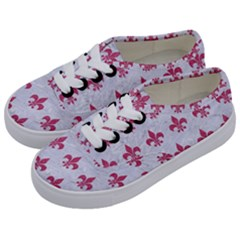 ROYAL1 WHITE MARBLE & PINK DENIM Kids  Classic Low Top Sneakers
