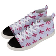 ROYAL1 WHITE MARBLE & PINK DENIM Men s Mid-Top Canvas Sneakers