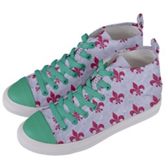 ROYAL1 WHITE MARBLE & PINK DENIM Women s Mid-Top Canvas Sneakers