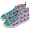 ROYAL1 WHITE MARBLE & PINK DENIM Women s Mid-Top Canvas Sneakers View2