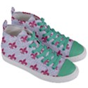 ROYAL1 WHITE MARBLE & PINK DENIM Women s Mid-Top Canvas Sneakers View3