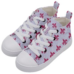 ROYAL1 WHITE MARBLE & PINK DENIM Kid s Mid-Top Canvas Sneakers