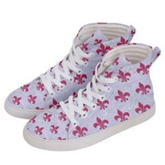 ROYAL1 WHITE MARBLE & PINK DENIM Women s Hi-Top Skate Sneakers