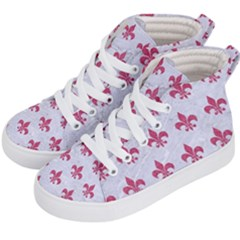 ROYAL1 WHITE MARBLE & PINK DENIM Kid s Hi-Top Skate Sneakers