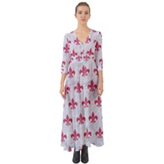 ROYAL1 WHITE MARBLE & PINK DENIM Button Up Boho Maxi Dress