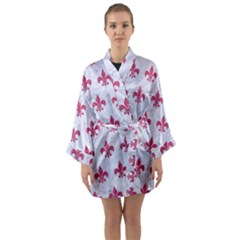 ROYAL1 WHITE MARBLE & PINK DENIM Long Sleeve Kimono Robe