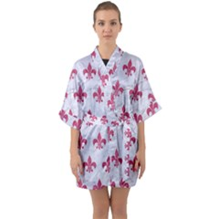 ROYAL1 WHITE MARBLE & PINK DENIM Quarter Sleeve Kimono Robe
