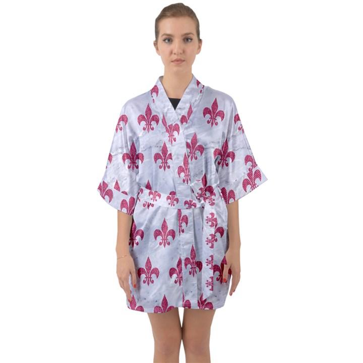 ROYAL1 WHITE MARBLE & PINK DENIM Quarter Sleeve Kimono Robe