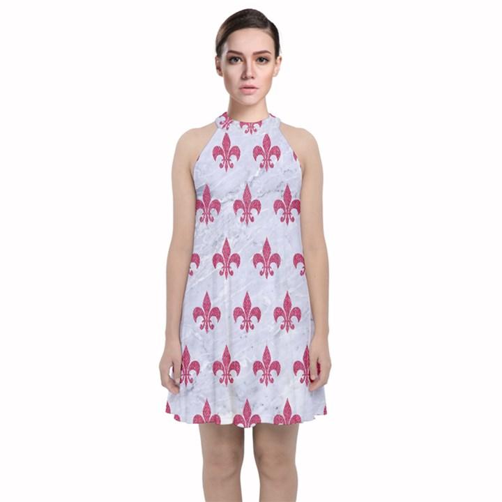 ROYAL1 WHITE MARBLE & PINK DENIM Velvet Halter Neckline Dress