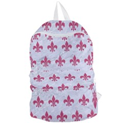 Royal1 White Marble & Pink Denim Foldable Lightweight Backpack