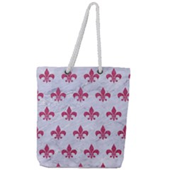 ROYAL1 WHITE MARBLE & PINK DENIM Full Print Rope Handle Tote (Large)
