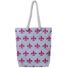 ROYAL1 WHITE MARBLE & PINK DENIM Full Print Rope Handle Tote (Small)