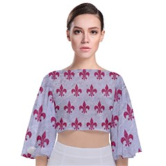 ROYAL1 WHITE MARBLE & PINK DENIM Tie Back Butterfly Sleeve Chiffon Top