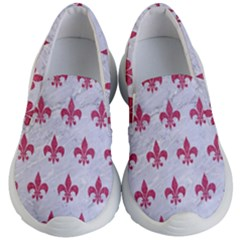ROYAL1 WHITE MARBLE & PINK DENIM Kid s Lightweight Slip Ons
