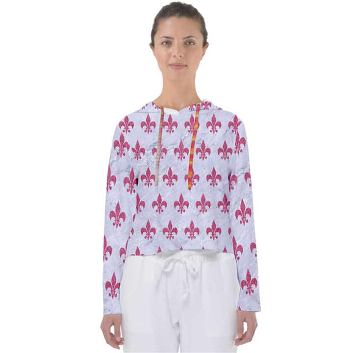 ROYAL1 WHITE MARBLE & PINK DENIM Women s Slouchy Sweat