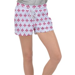 ROYAL1 WHITE MARBLE & PINK DENIM Women s Velour Lounge Shorts