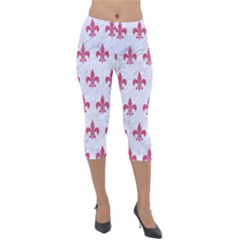 ROYAL1 WHITE MARBLE & PINK DENIM Lightweight Velour Capri Leggings
