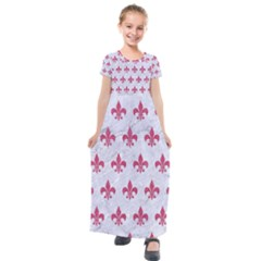 ROYAL1 WHITE MARBLE & PINK DENIM Kids  Short Sleeve Maxi Dress