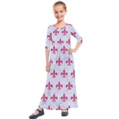 ROYAL1 WHITE MARBLE & PINK DENIM Kids  Quarter Sleeve Maxi Dress