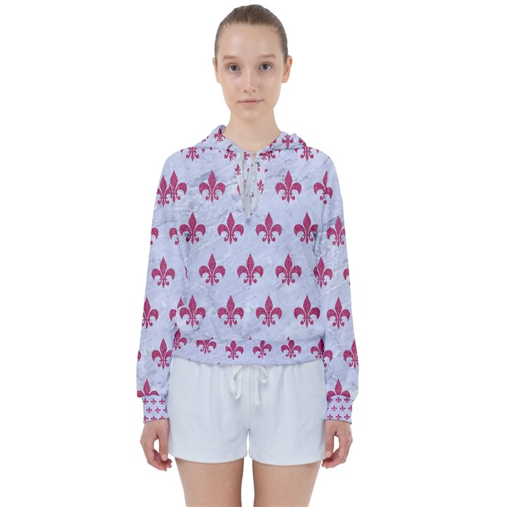 ROYAL1 WHITE MARBLE & PINK DENIM Women s Tie Up Sweat