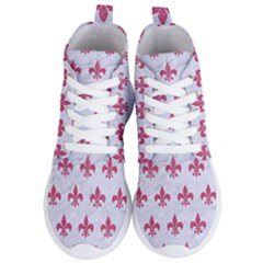 ROYAL1 WHITE MARBLE & PINK DENIM Women s Lightweight High Top Sneakers