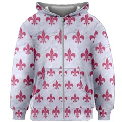 ROYAL1 WHITE MARBLE & PINK DENIM Kids Zipper Hoodie Without Drawstring