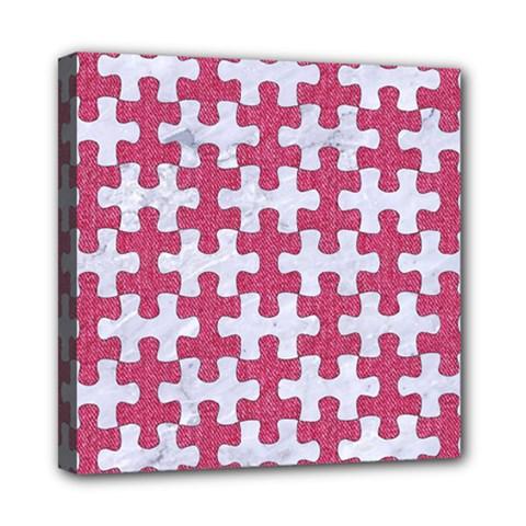 Puzzle1 White Marble & Pink Denim Mini Canvas 8  X 8