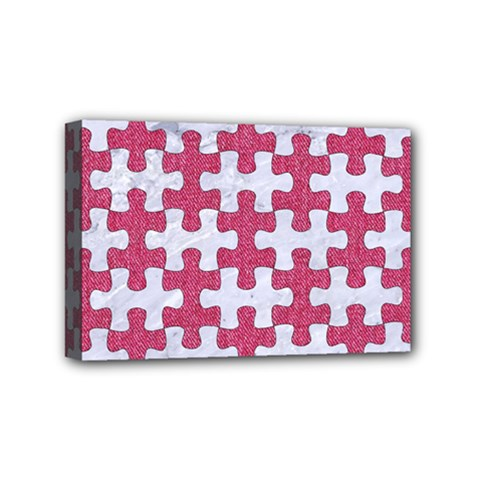 Puzzle1 White Marble & Pink Denim Mini Canvas 6  X 4