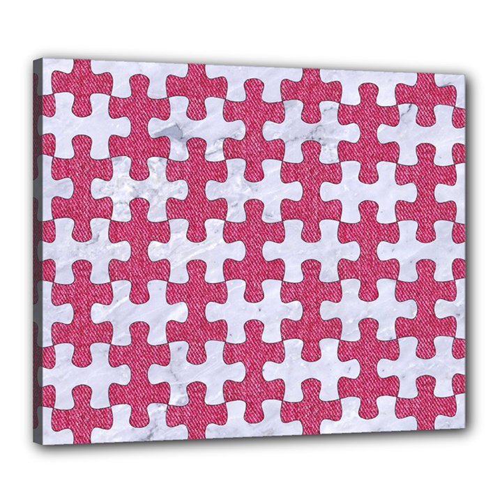 PUZZLE1 WHITE MARBLE & PINK DENIM Canvas 24  x 20