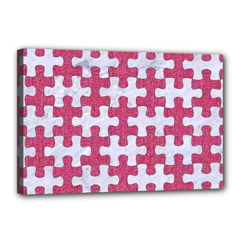 Puzzle1 White Marble & Pink Denim Canvas 18  X 12