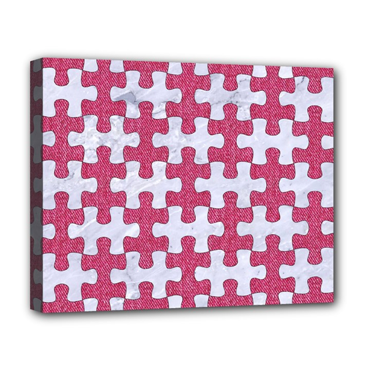 PUZZLE1 WHITE MARBLE & PINK DENIM Deluxe Canvas 20  x 16