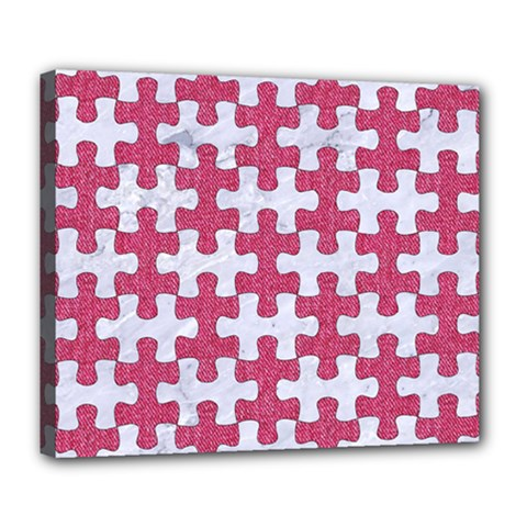 Puzzle1 White Marble & Pink Denim Deluxe Canvas 24  X 20