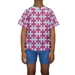 Puzzle1 White Marble & Pink Denim Kids  Short Sleeve Swimwear