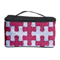 Puzzle1 White Marble & Pink Denim Cosmetic Storage Case